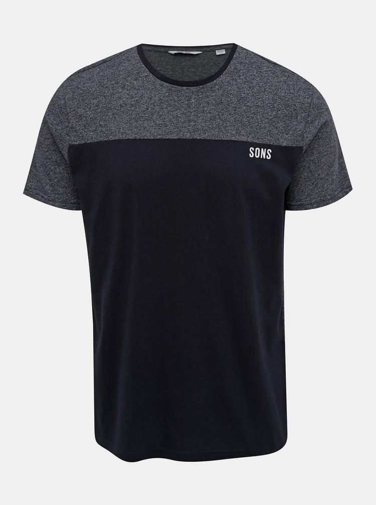 Tmavě modré žíhané tričko ONLY & SONS Poam