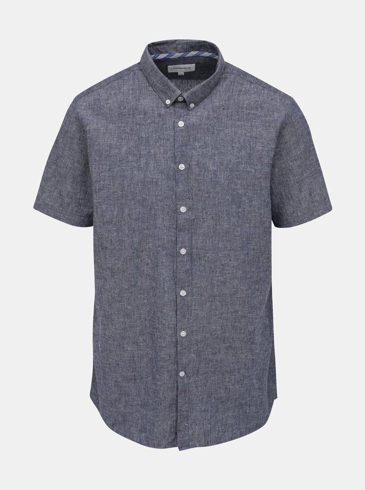 Tmavě modrá lněná žíhaná košile Lindbergh