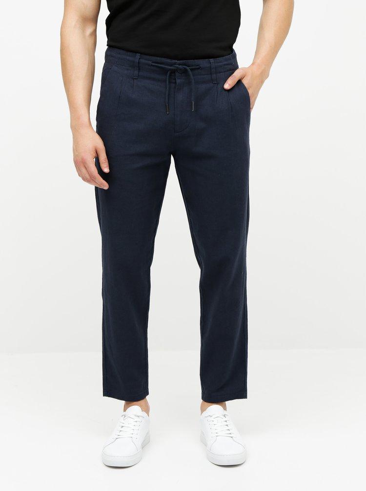 Tmavomodré ľanové nohavice ONLY & SONS Leo