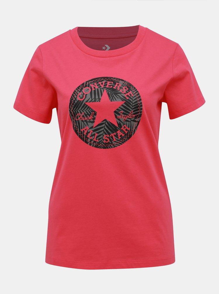 Tmavoružové dámské tričko s potiskem Converse