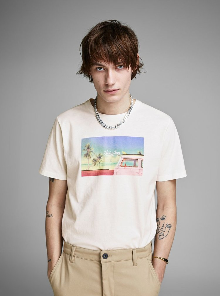 Tricou alb cu imprimeu Jack & Jones Hotel