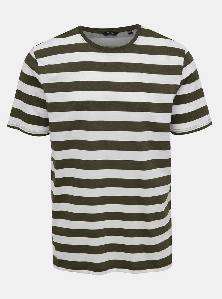 Bílo-zelené pruhované basic tričko ONLY & SONS Cole