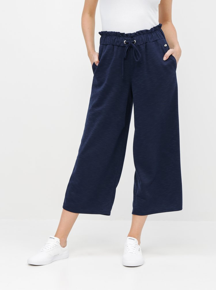 Pantaloni culottes albastru inchis cu talie inalta Tom Tailor Denim
