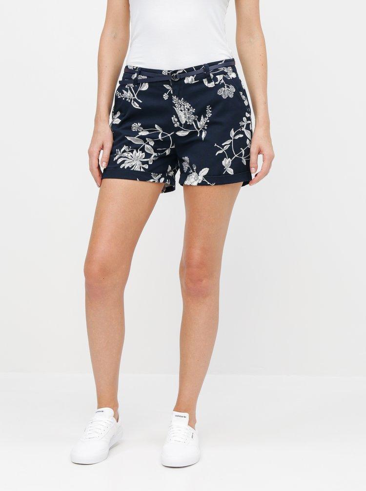 Pantaloni scurti albastru inchis chino florali Jacqueline de Yong Thilda