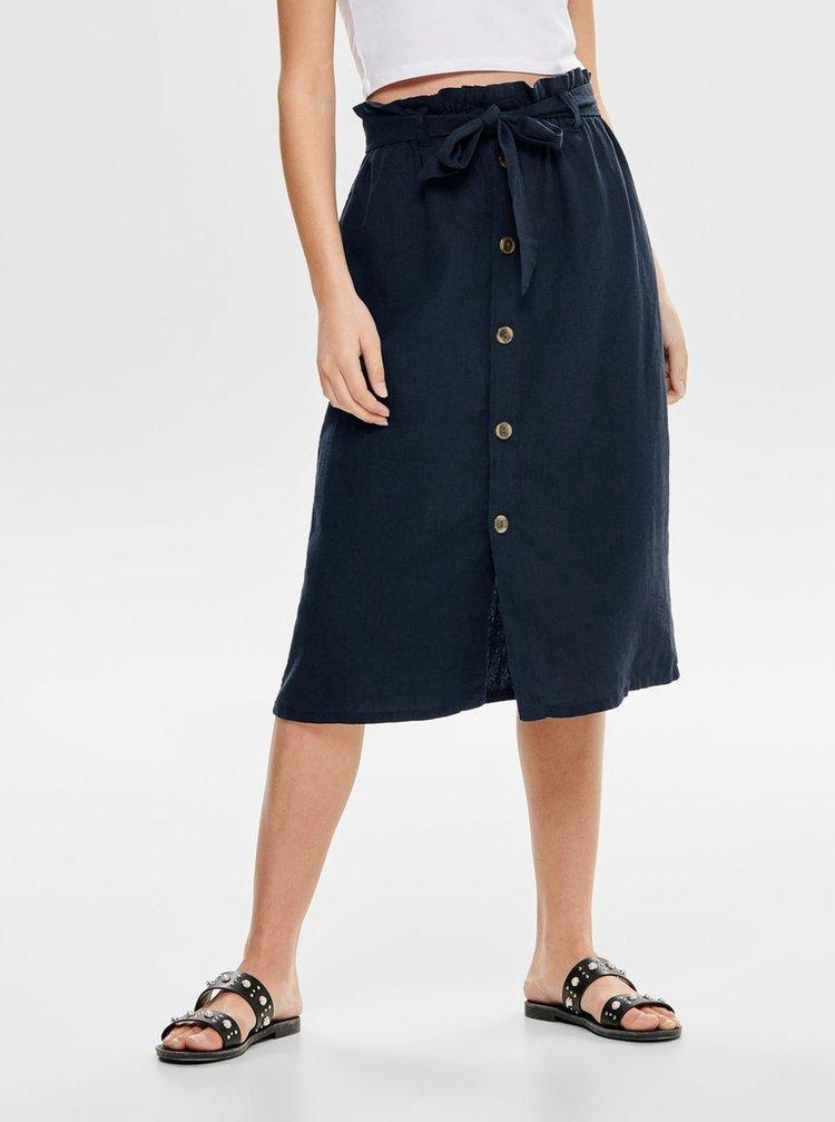 Tmavě modrá lněná sukně Jacqueline de Yong Sierra