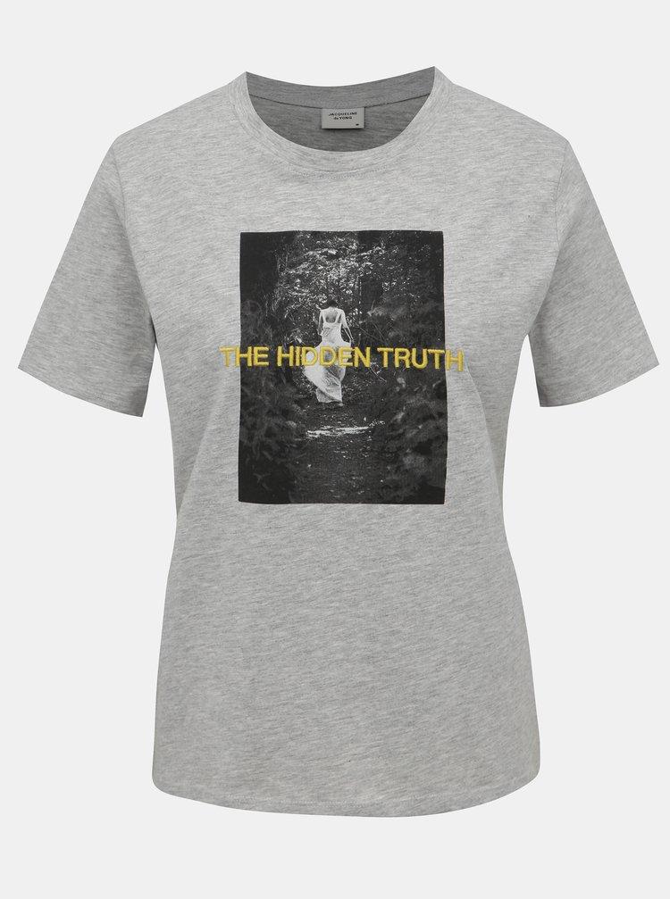 Šedé žíhané tričko s potiskem Jacqueline de Yong Christy