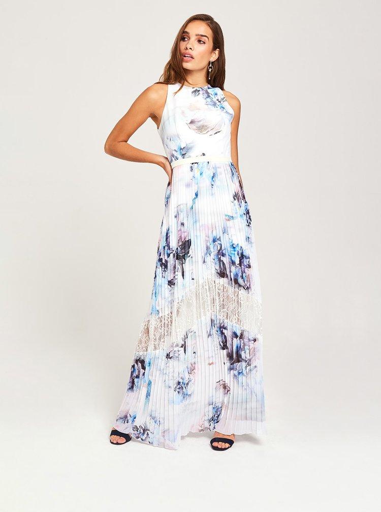 Modro-biele kvetované plisované maxišaty Little Mistress