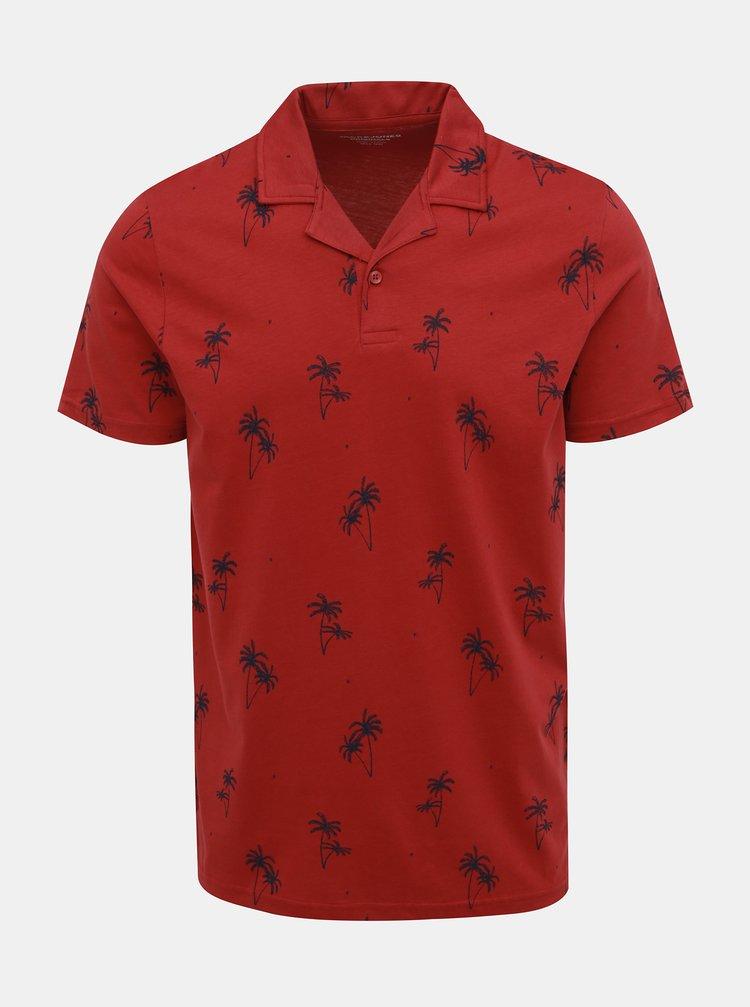 Červené vzorované polo tričko Jack & Jones Perry