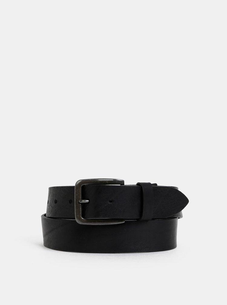 Černý kožený pásek Jack & Jones Victor
