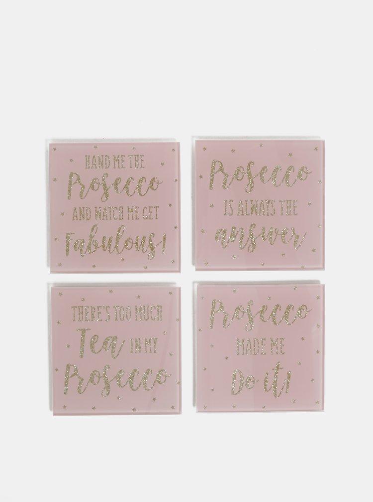 Sada štyroch rúžových sklenených podtácok Sass & Belle