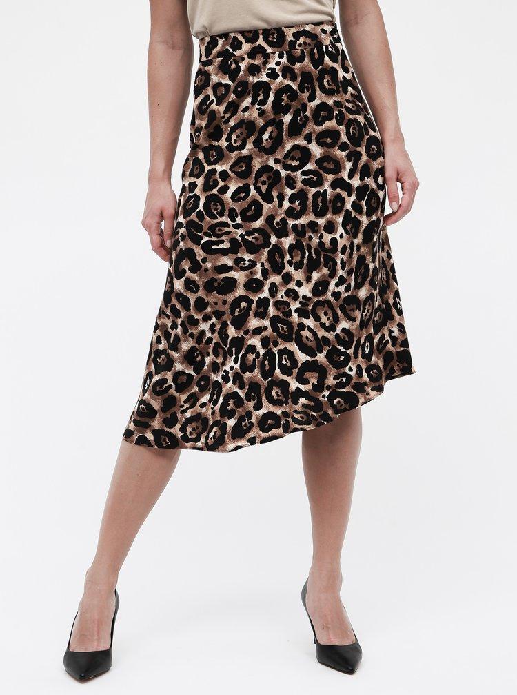 Fusta negru-maro asimetrica cu motiv ghepard Miss Selfridge