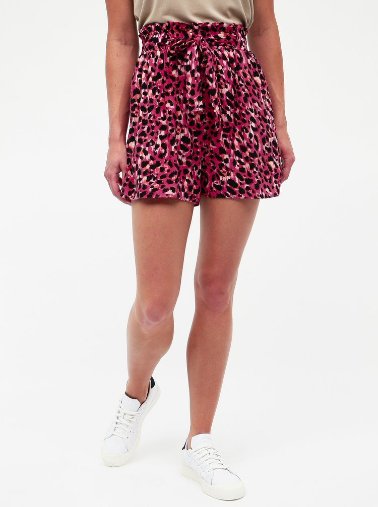 Pantaloni scurti roz inchis cu motiv leopard Dorothy Perkins
