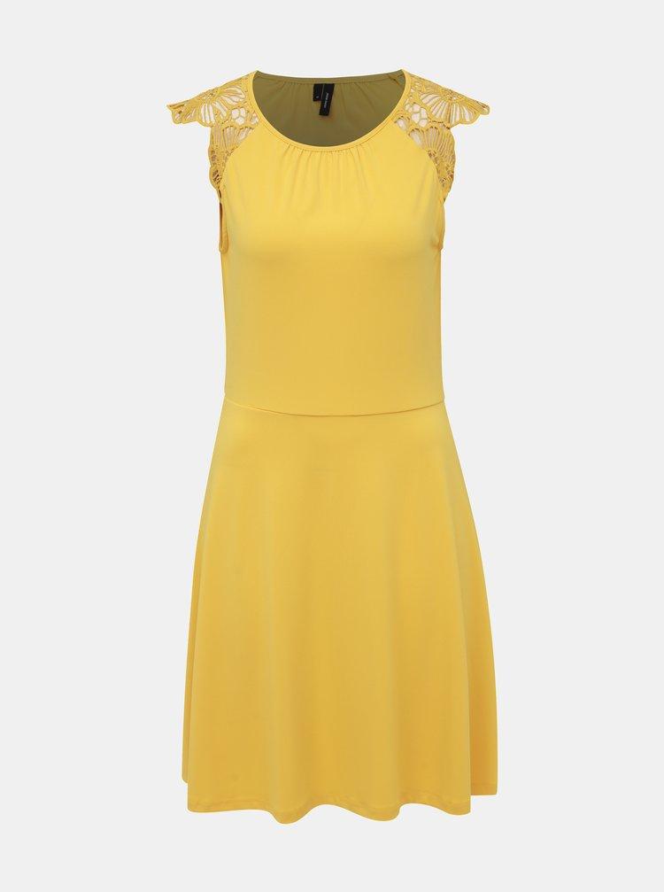 Žlté šaty s krajkou VERO MODA Donika