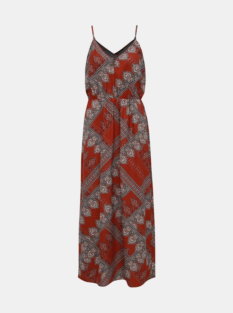 Hnedé vzorované šaty na ramienka ONLY Diana