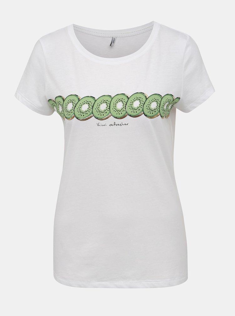 Biele tričko s potlačou ONLY Lima