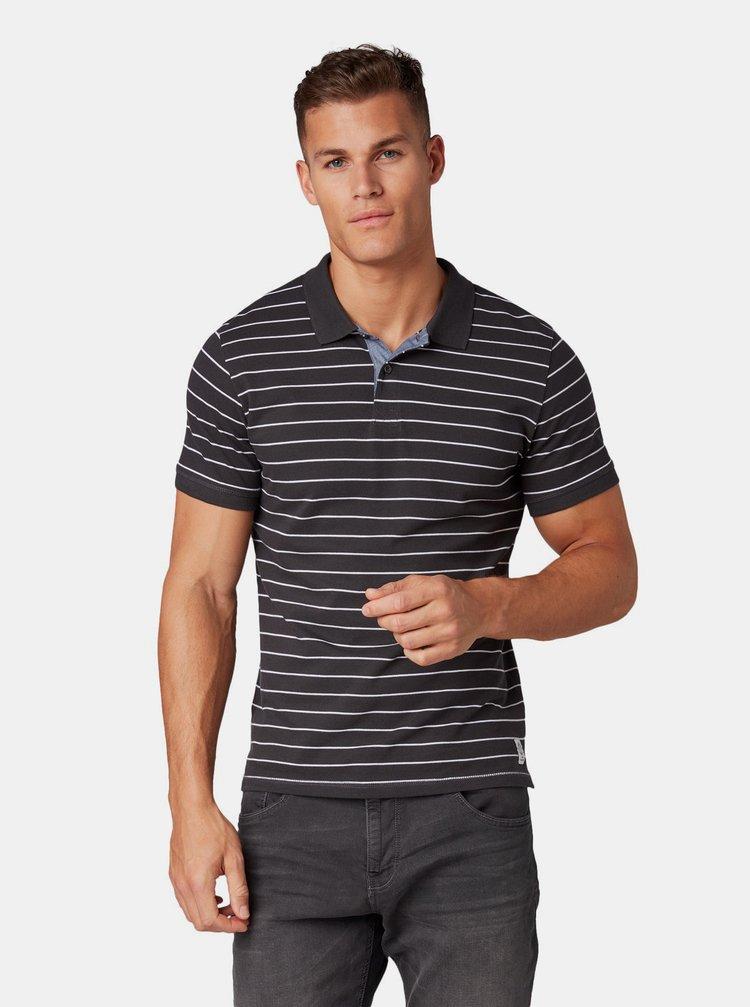 Tmavě šedé pánské pruhované polo tričko Tom Tailor