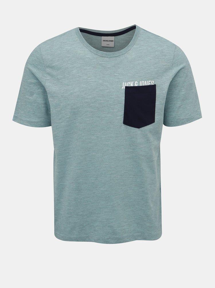 Modré žíhaný tričko Jack & Jones Pocketer