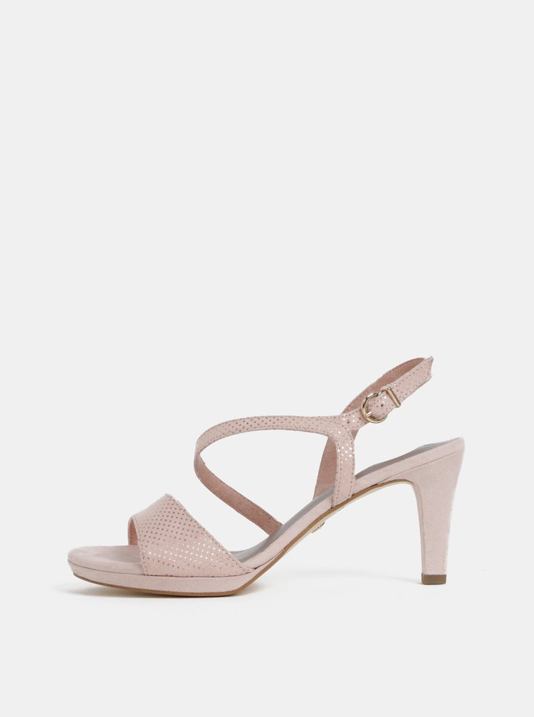 Světle růžové puntíkované sandálky v semišové úpravě Tamaris