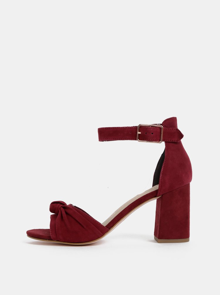 Vínové semišové sandálky Tamaris