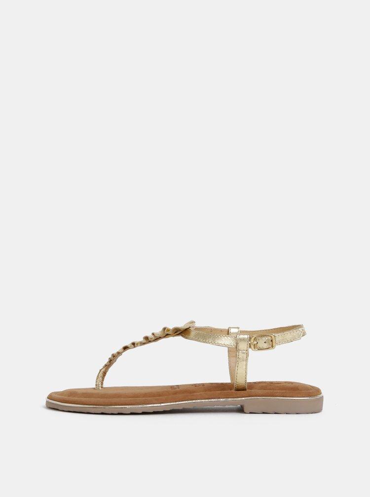Kožené sandály ve zlaté barvě Tamaris