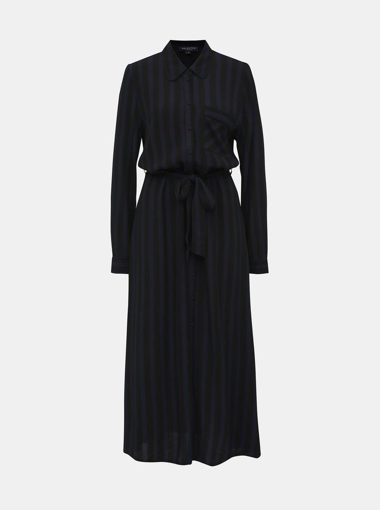 Modro-černé pruhované košilové maxišaty Selected Femme Florenta