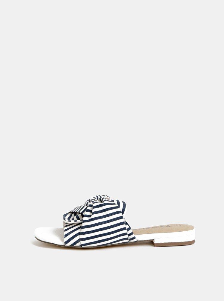 Bielo-modré pruhované šľapky Tamaris