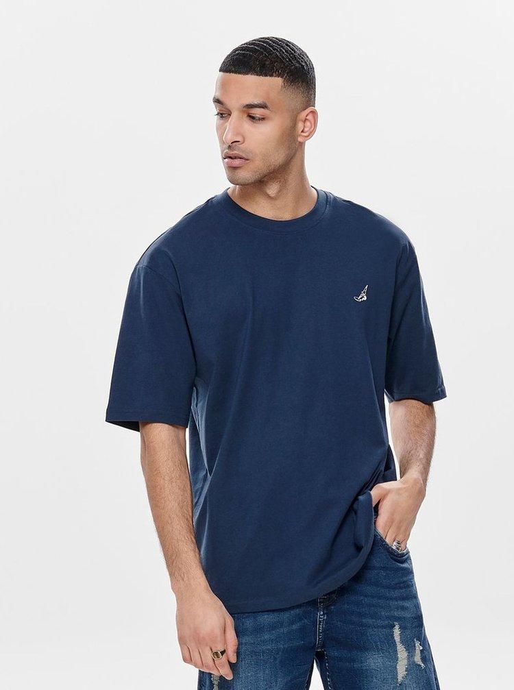 Tmavě modré oversize tričko ONLY & SONS Hurry
