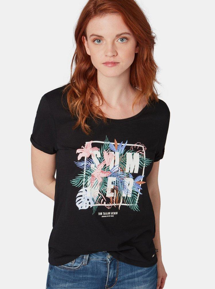 Černé dámské tričko s potiskem Tom Tailor Denim