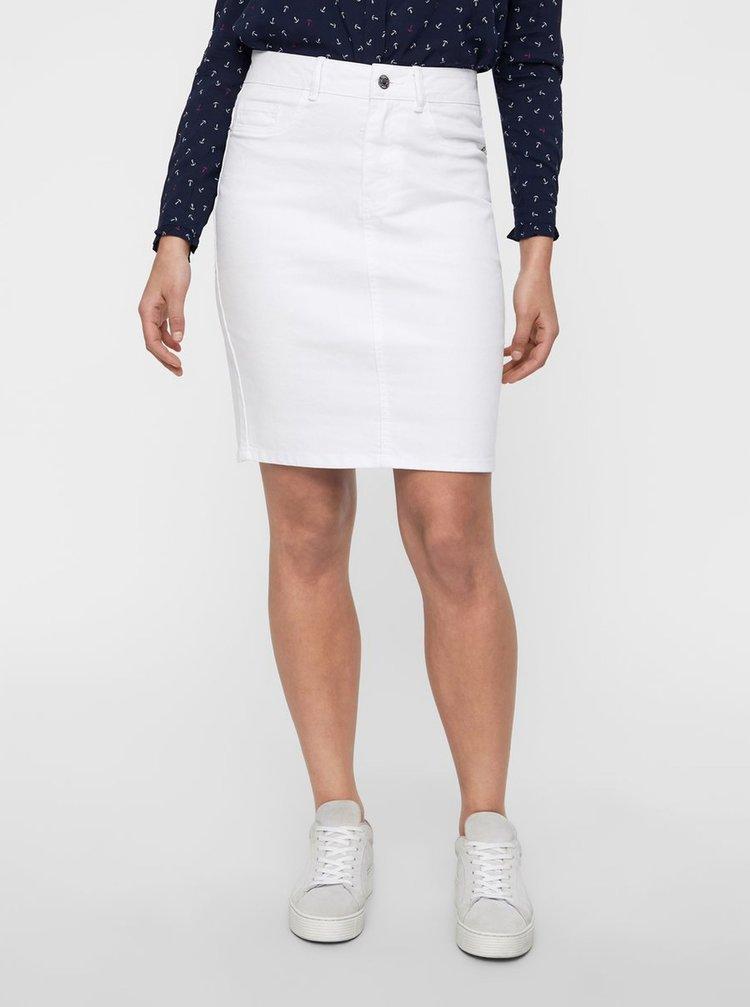 Biela rifľová puzdrová sukňa VERO MODA Hot Nine