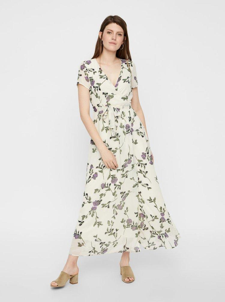 Krémové kvetované maxišaty s prekladanou sukňou VERO MODA Amsterdam