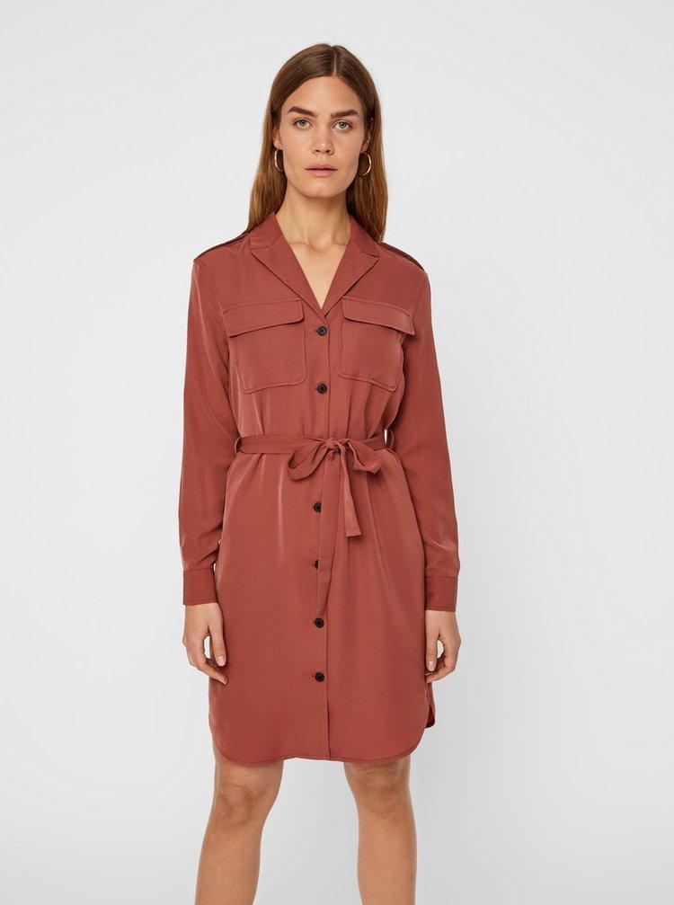 Hnedé košeľové šaty VERO MODA Selina