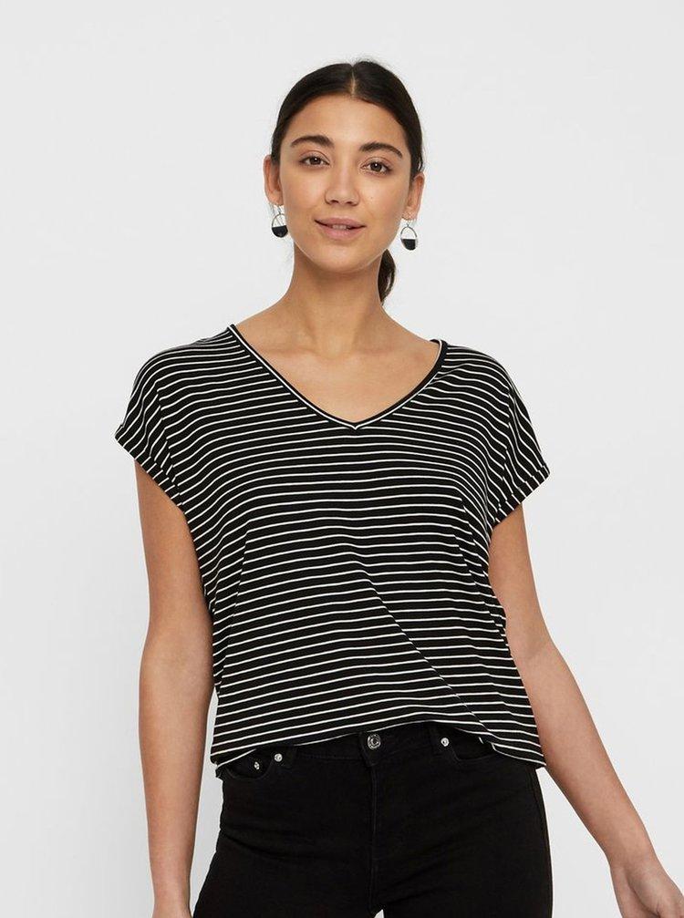 Černé pruhované basic tričko AWARE by VERO MODA Ava