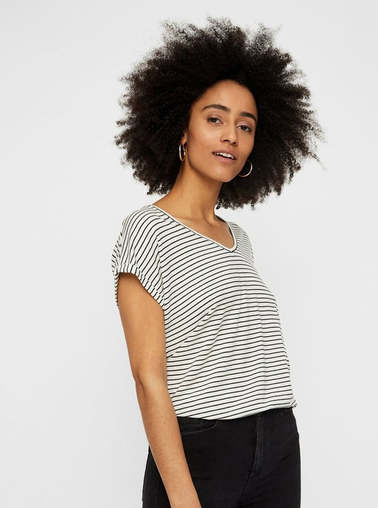 Tricou basic alb in dungi AWARE by VERO MODA Ava