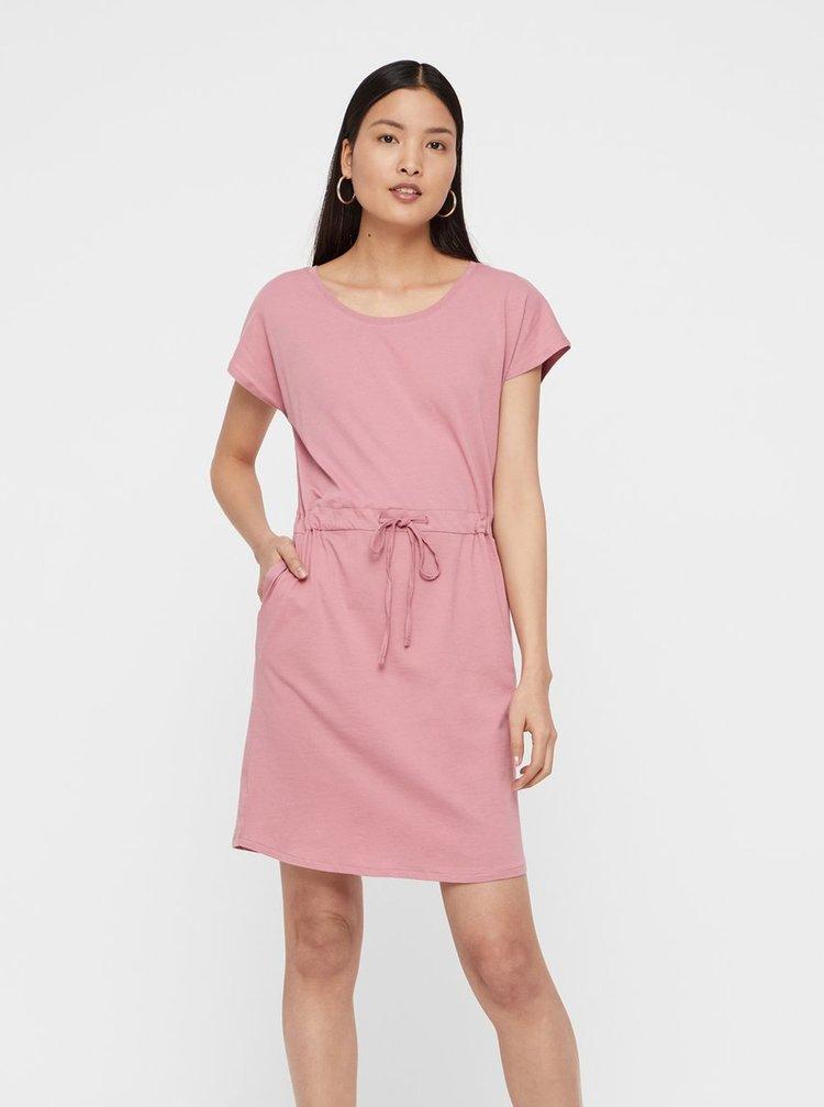 Růžové basic šaty s kapsami VERO MODA April