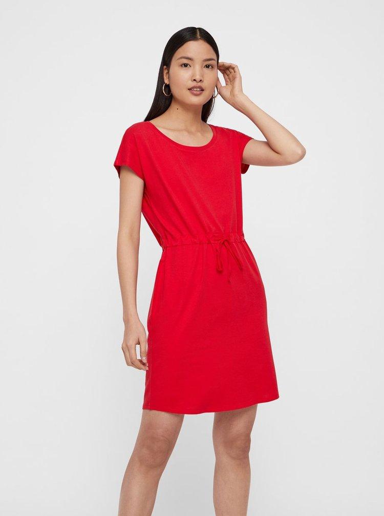 Červené basic šaty s kapsami VERO MODA April