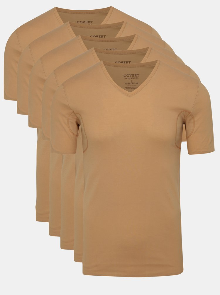 Set de 5 tricouri basic skinny roz pal cu insertii respirabile Covert Underwear