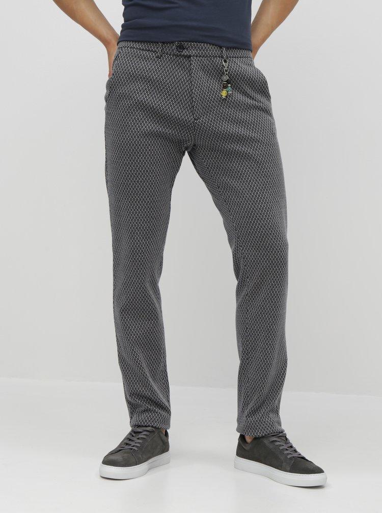 Pantaloni gri inchis cu model chino si decorative Dstrezzed Fancy