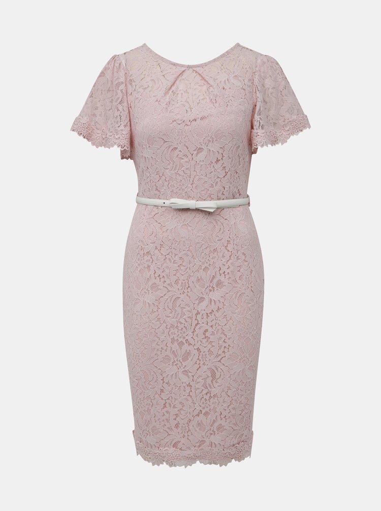 Staroružové krajkové šaty s opaskom Dorothy Perkins