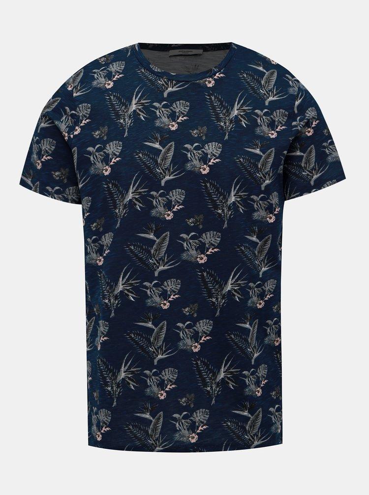 Tmavě modré květované tričko Jack & Jones Palmer