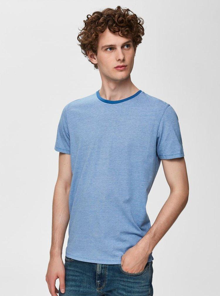 Modré vzorované tričko Selected Homme Pete