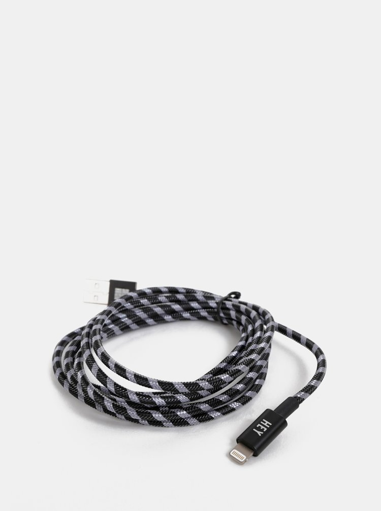 Černý dlouhý kabel na iPhone Design Letters Hey
