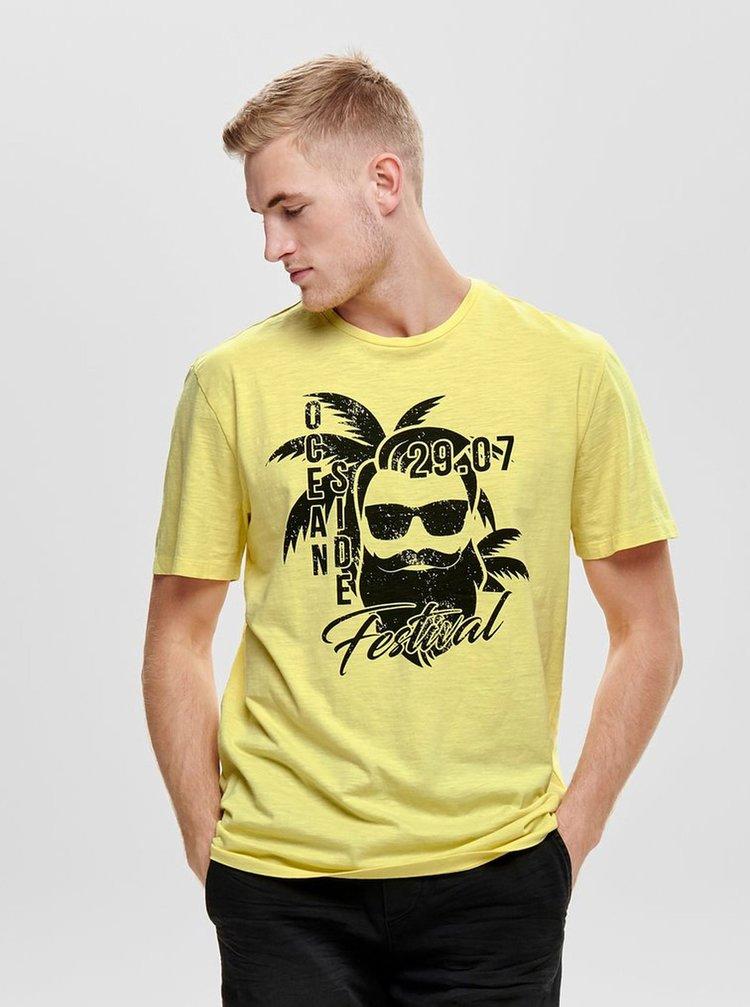 Tricou galben cu imprimeu ONLY & SONS Promto
