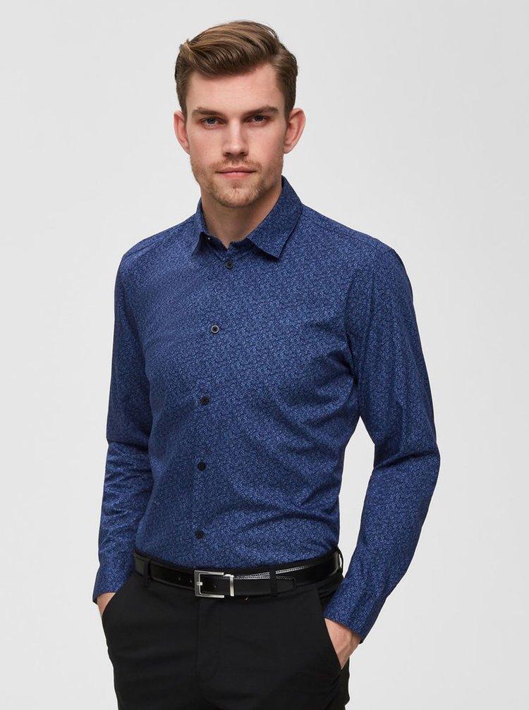 Modrá vzorovaná slim fit košeľa Selected Homme Neo