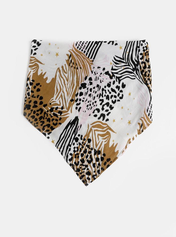 Bílo-hnědý vzorovaný šátek Femi Stories Berta