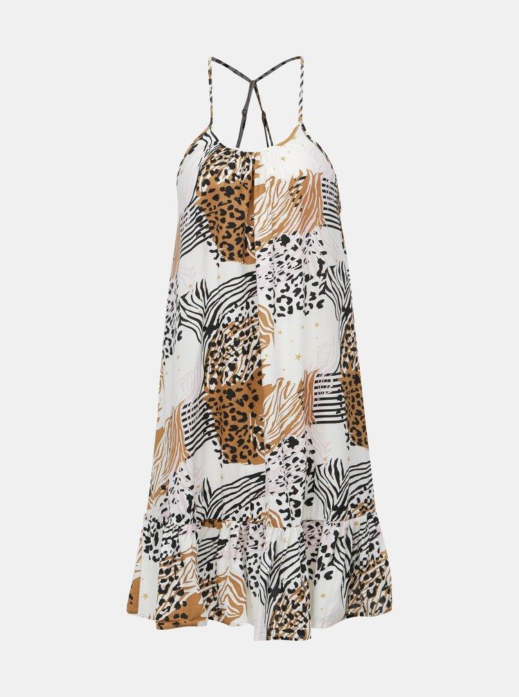 Hnědo-bílé šaty s gepardím vzorem Femi Stories Arava