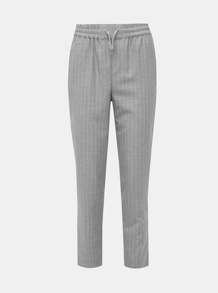 Šedé pruhované zkrácené kalhoty TALLY WEiJL