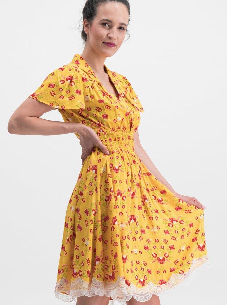 Žluté květované šaty Blutsgeschwister Sweet Mariandl