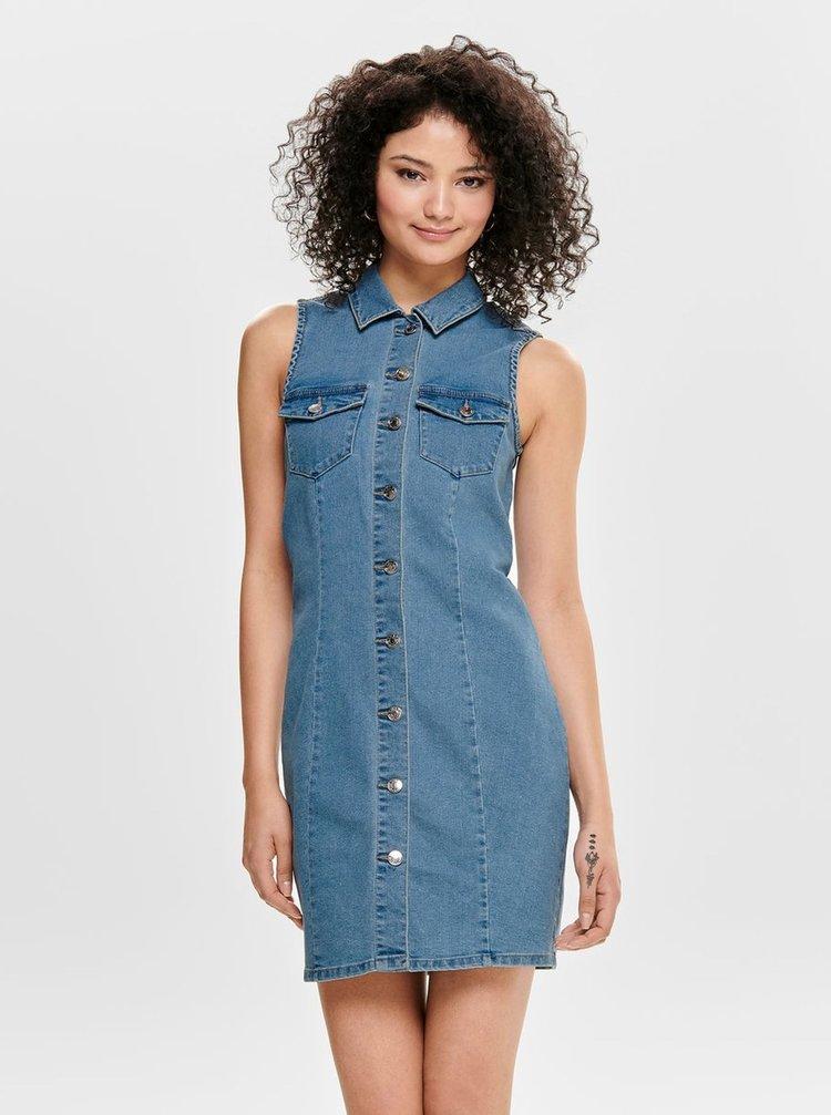 Modré džínové košilové šaty ONLY Amaze