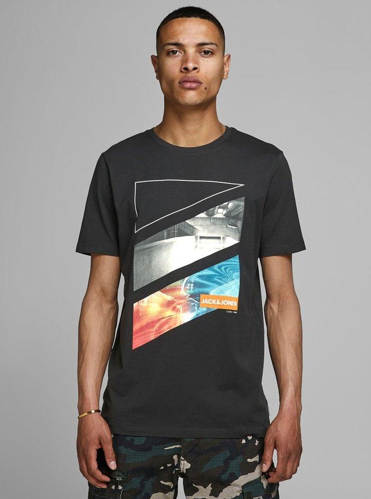 Čierne tričko s potlačou Jack & Jones Autumn
