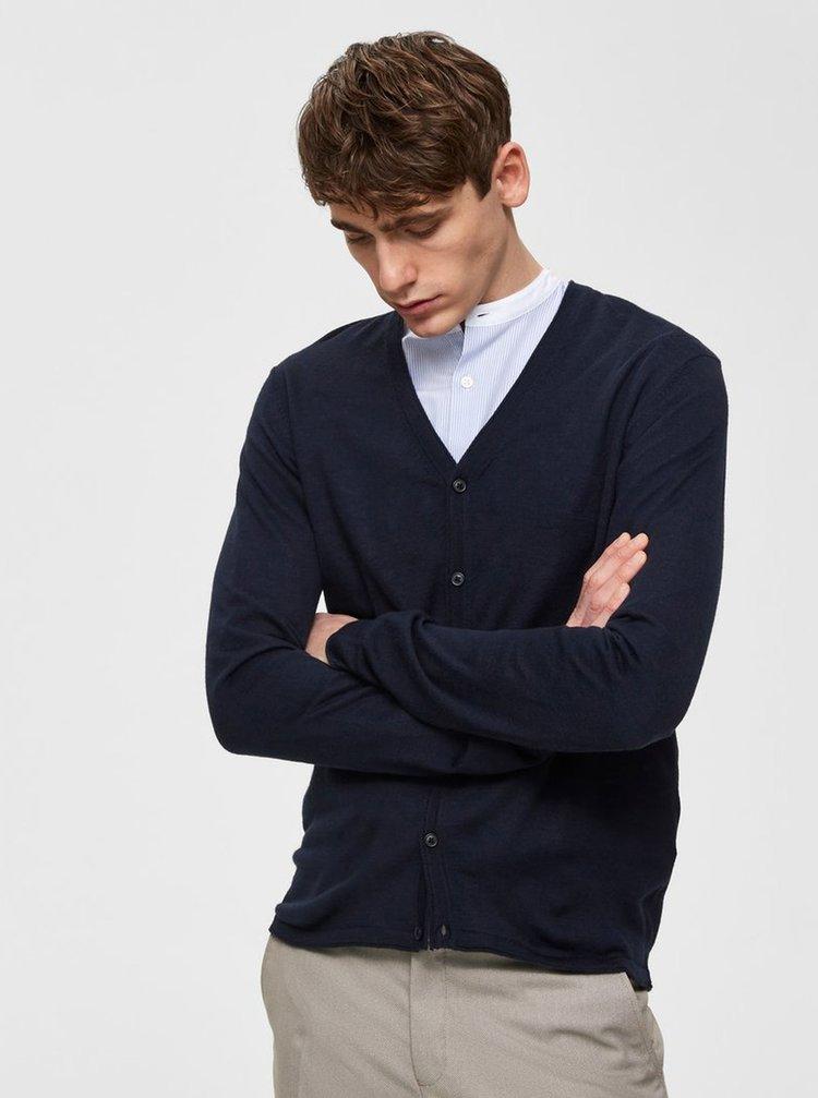 Tmavě modrý basic kardigan z Merino vlny Selected Homme Thom